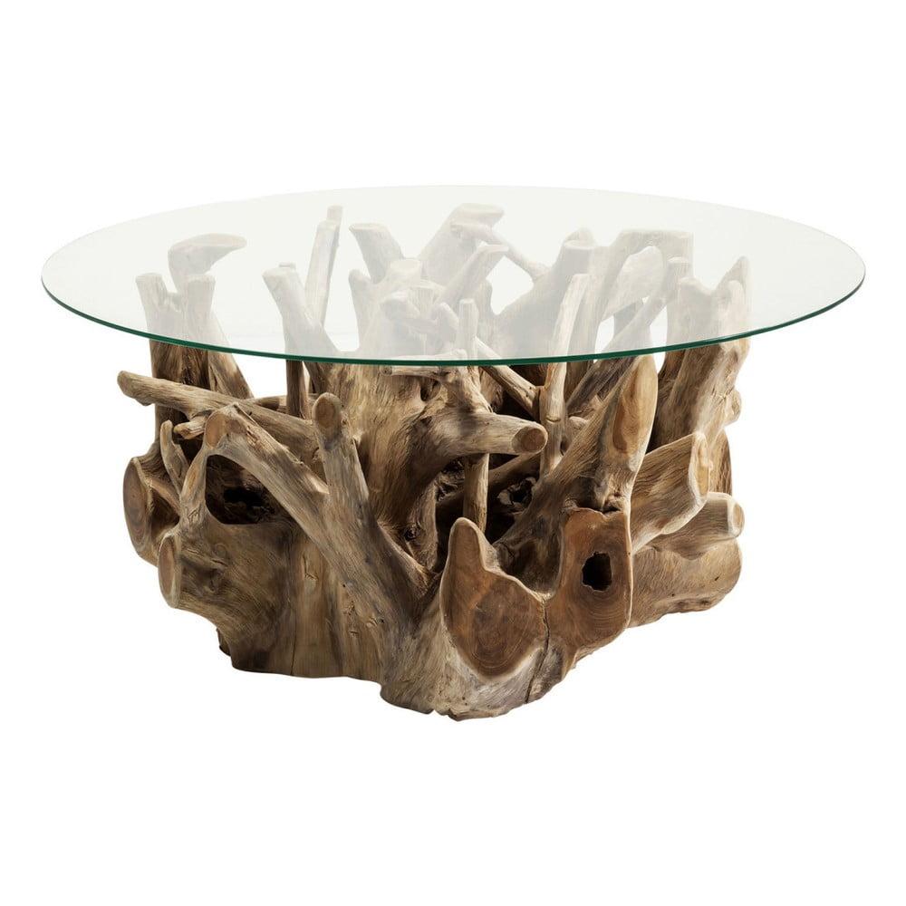 Sklenený odkladací stolík s podstavcom z teakového dreva Kare Design Roots, Ø 100 cm