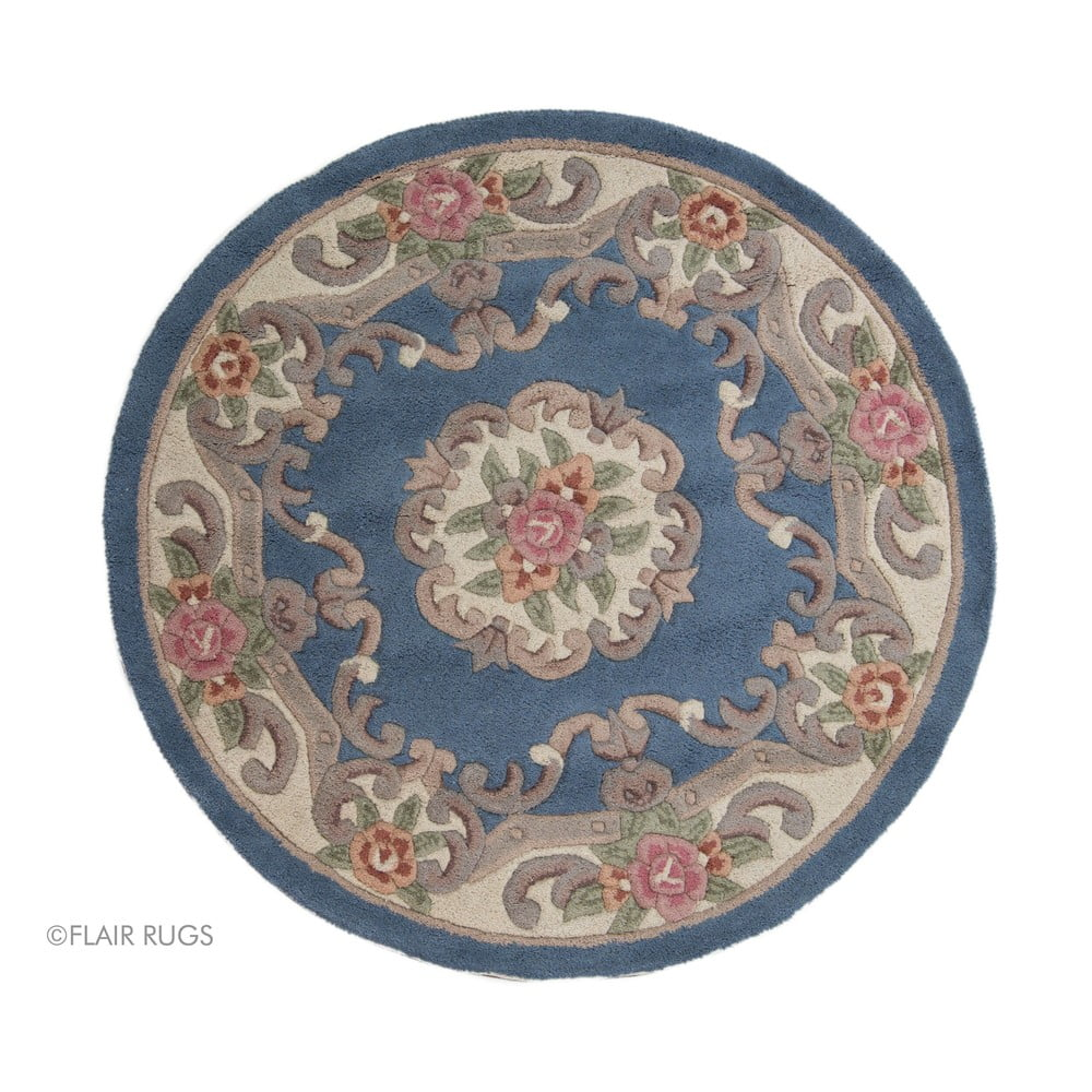Modrý vlnený koberec Flair Rugs Aubusson, ⌀ 120 cm