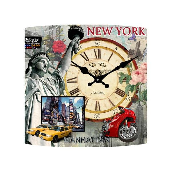 Sklenené hodiny New York, 34x34 cm