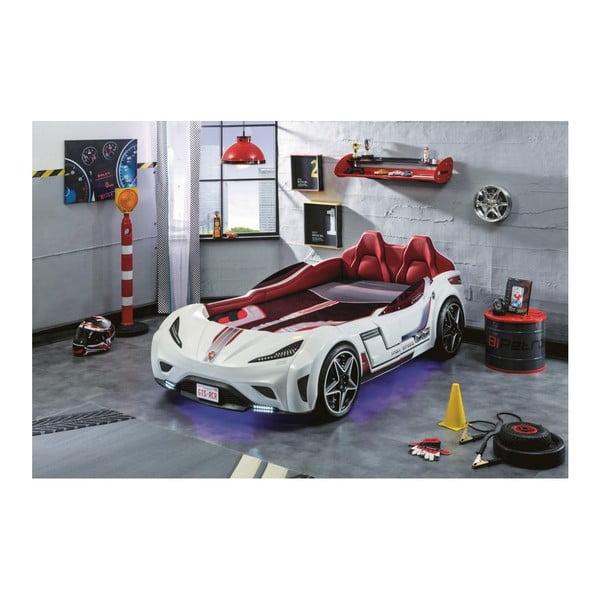 Biela detská posteľ v tvare auta s tyrkysovým osvetlením Fast GTS Carbed White