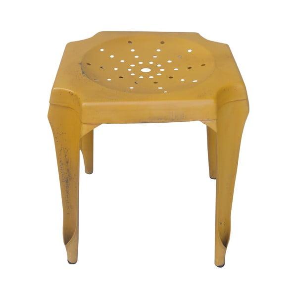 Kovový retro stolík Gion, žltý