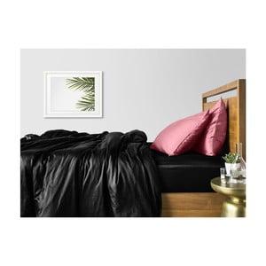 Čierno-ružové bavlnené obliečky na dvojlôžko s čiernou plachtou COSAS Lurra, 200×220cm