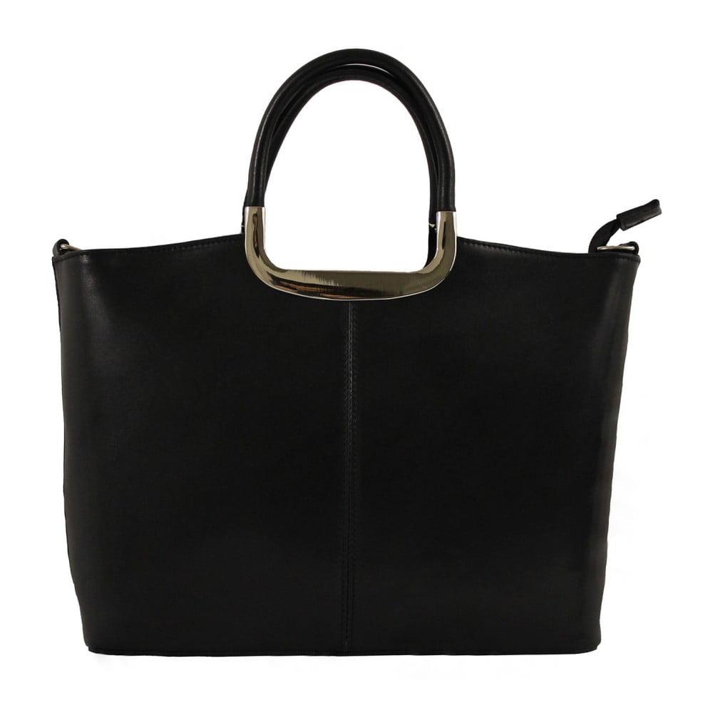 Čierna kožená kabelka Chicca Borse Gia