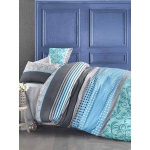 Modré obliečky s prímesou bavlny s plachtou na dvojlôžko Miranda Sea, 200 × 220 cm