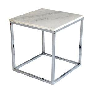 Biely mramorový odkladací stolík s chrómovanou podnožou RGE Accent, šírka 50 cm