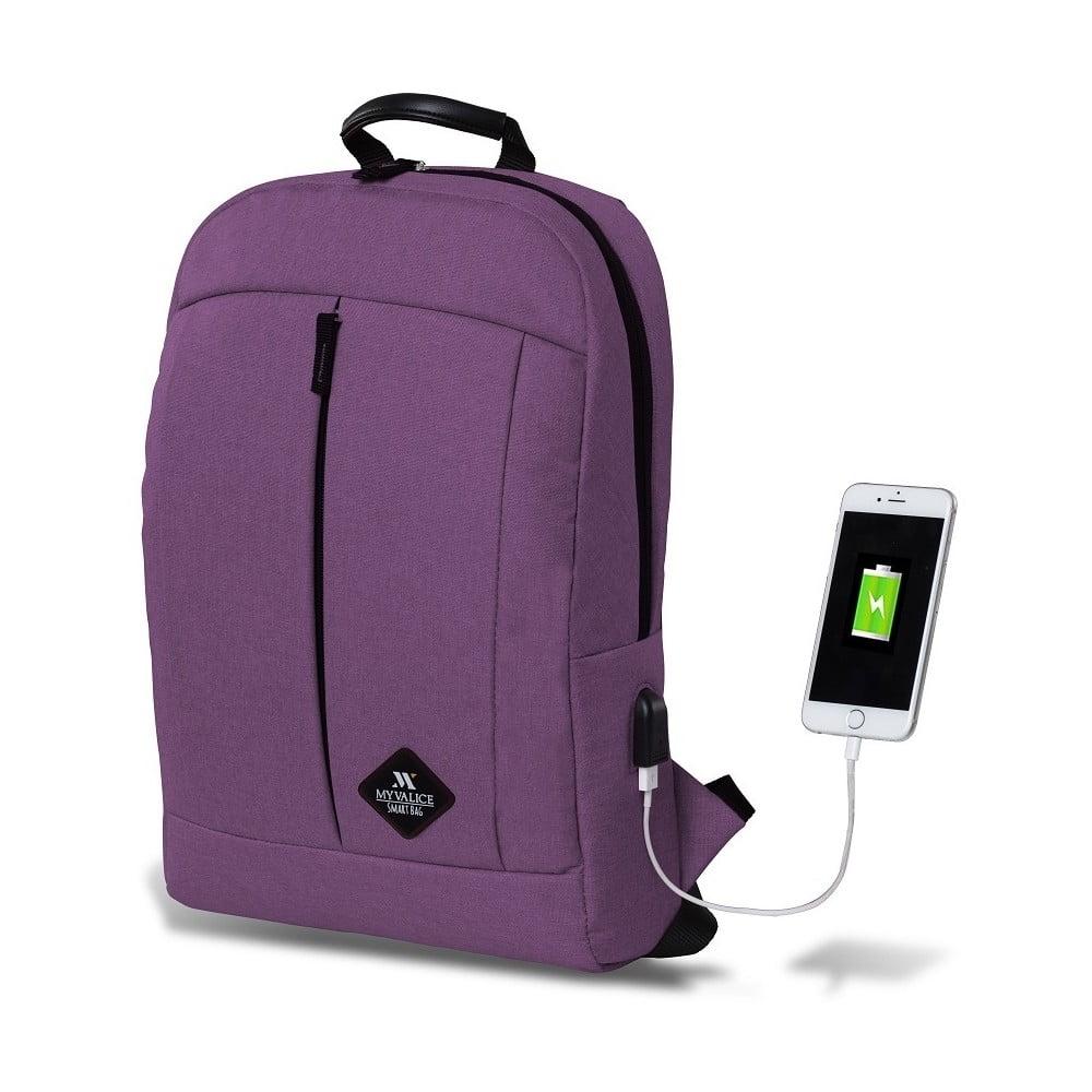 Fialový batoh s USB portom My Valice GALAXY Smart Bag