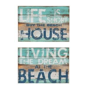 Sada 2 nástenných dekorácií J-Line Beach Living