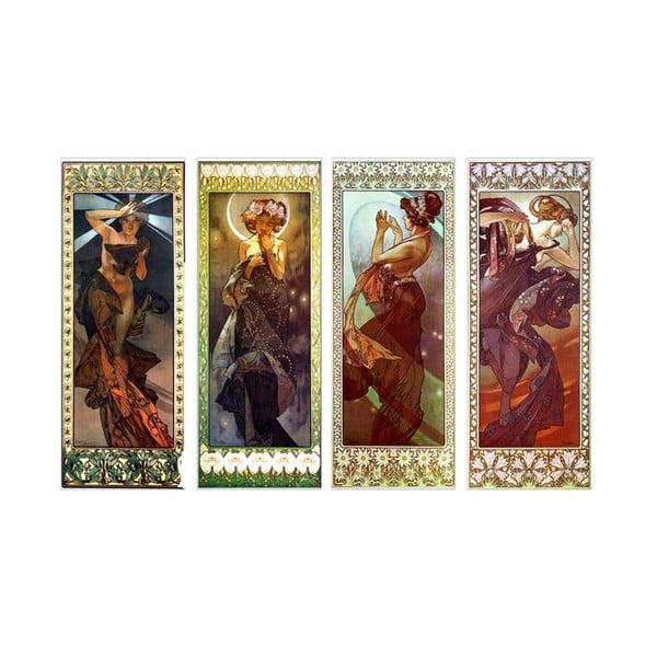 Sada štyroch obrazov Alfons Mucha The Moon and Stars, 30x80 cm