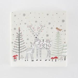 Sada 20 papierových utierok s vianočným motívom Sass & Belle