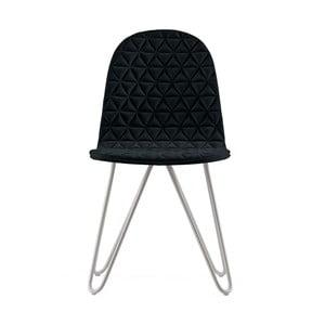 Čierna stolička s kovovými nohami IKER Mannequin X Triangle