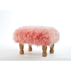 Stolička z ovčej kože Angharad Baby Pink