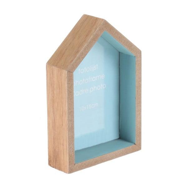 Nástenný fotorámček v tvare domu, modrý podklad