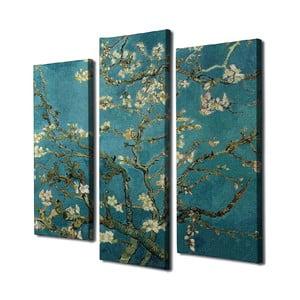 3-dielna nástenná reprodukcia Vincent Van Gogh Almond Blossom