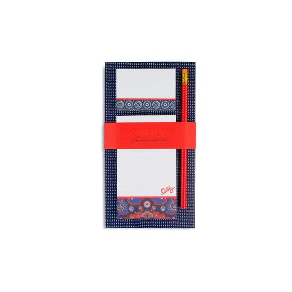 Linajkovaný magnetický zápisník s lepiacimi papierikmi a ceruzkou Portico Designs Oilily