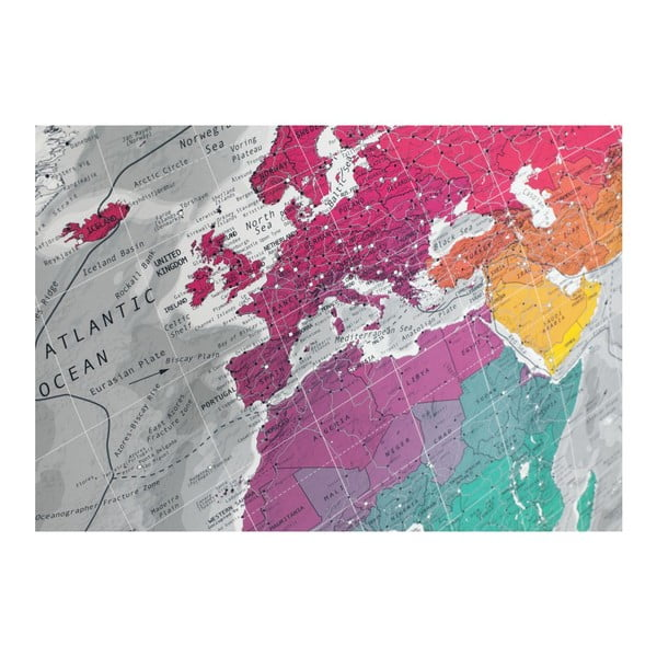 Magnetická mapa sveta The Future Mapping Company Colourful World, 130 x 72 cm