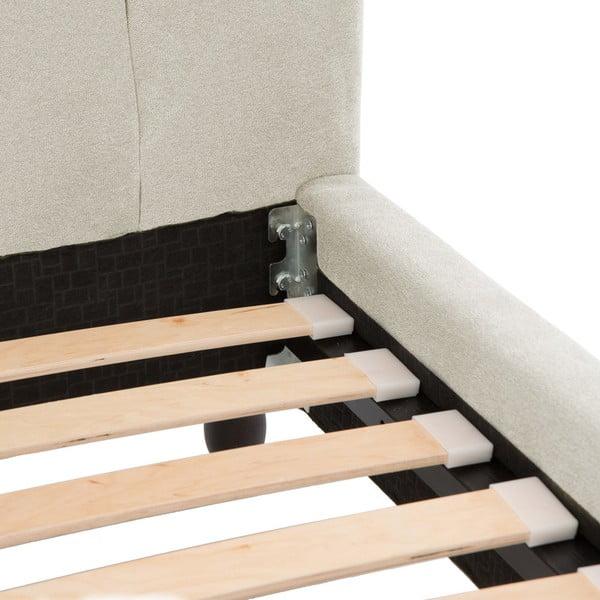 Béžová posteľ VIVONITA Allon 160x200cm, čierne nohy
