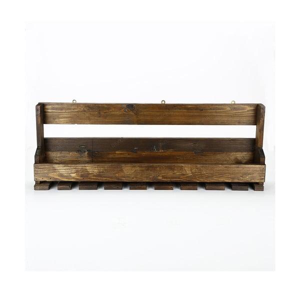 Ručne vyrábaný stojan na víno a držiak na poháriky z masívneho dreva Catalin Faina, 90 × 30 × 12 cm