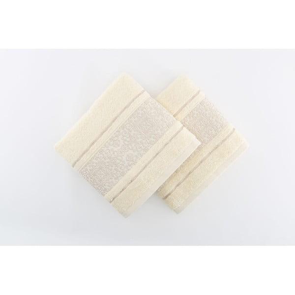 Sada 2 krémových osušiek Giselle Cream, 70x140cm