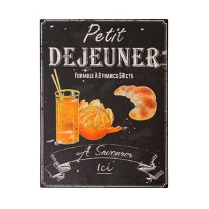 Plechová ceduľa Antic Line Petit Déjeuner, 25 × 33 cm