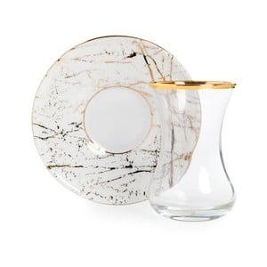 Set pohára s tanierikom Vivas Gold Marble, 100 ml