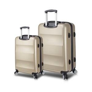 Sada 2 cestovných kufrov na kolieskach s USB porty v zlatej farbe My Valice LASSO Cabin & Large