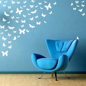 Samolepka na stenu Motýlí raj, biela