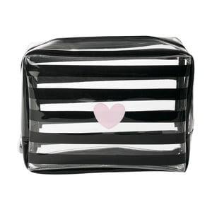 Kozmetická taštička Miss Étoile Heart Rose Stripes, 24 x 9 cm