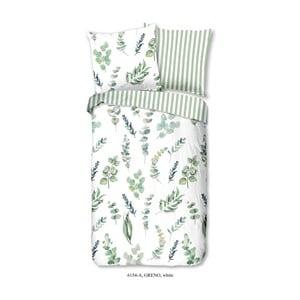Zeleno-biele obliečky na jednolôžko z bavlny Good Morning Greno, 140×200 cm