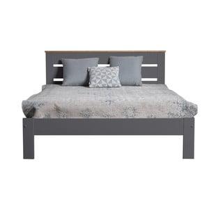 Antracitovosivá dvojlôžková posteľ z masívneho borovicového dreva Marckeric Jade, 140×190 cm