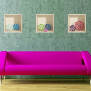Sada 3 samolepiek s 3D efektom Fanastick Spheres