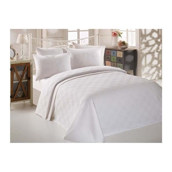 Biely bavlnený pléd cez posteľ na dvojlôžko Single Pique Puro, 200 × 234 cm