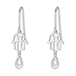 Strieborné náušnice s bielou perlou Chakra Pearls