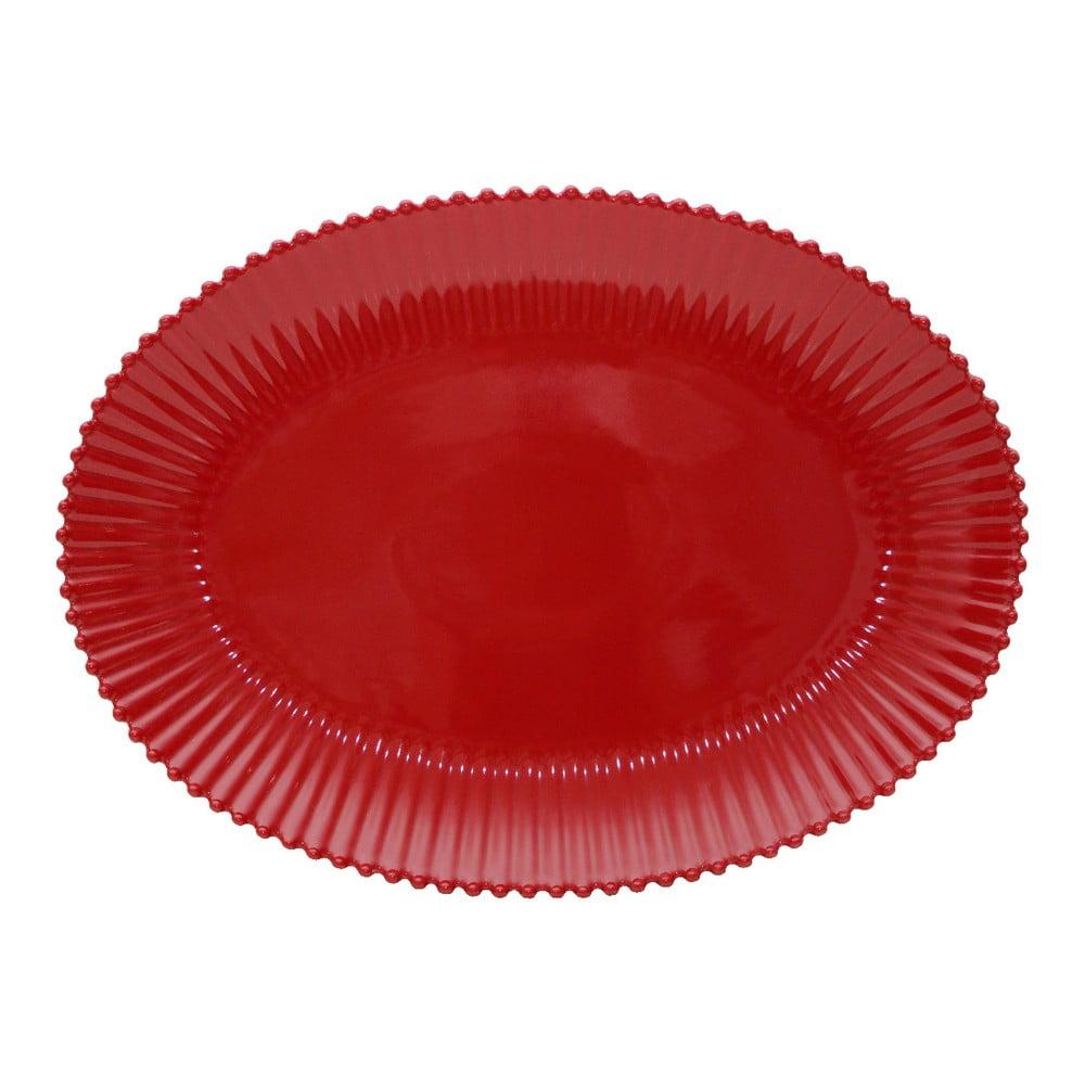 Rubínovočervená kameninová oválna tácka Costa Nova Pearl, šírka 50 cm