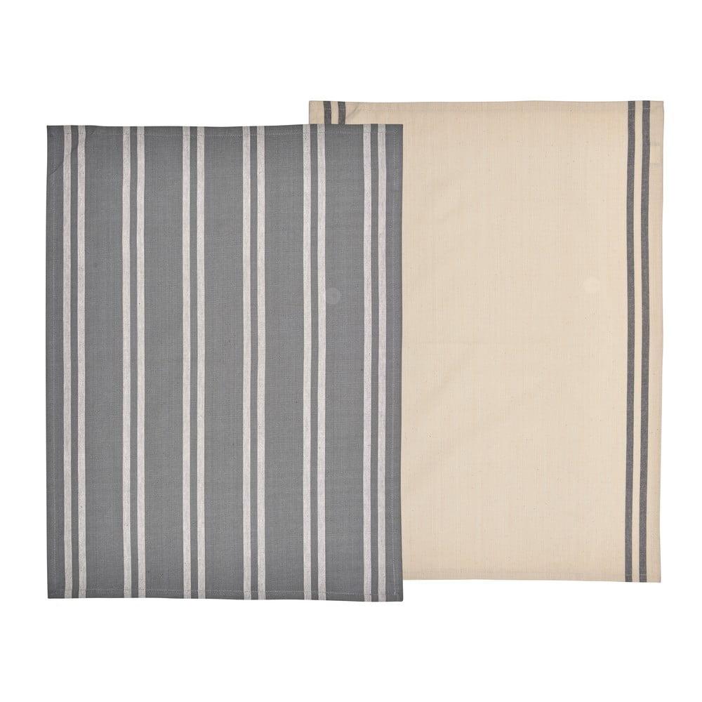 Súprava 2 béžovo-sivých utierok z bavlny Södahl, 50 x 70 cm