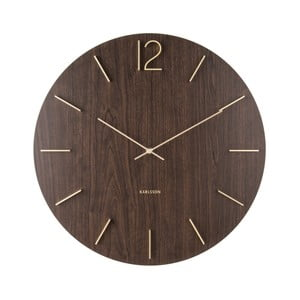 Tmavohnedé nástenné hodiny Karlsson Meek, Ø50cm