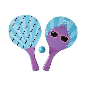 Fialové rakety na ping pong s loptičkou TINC Bat & Ball