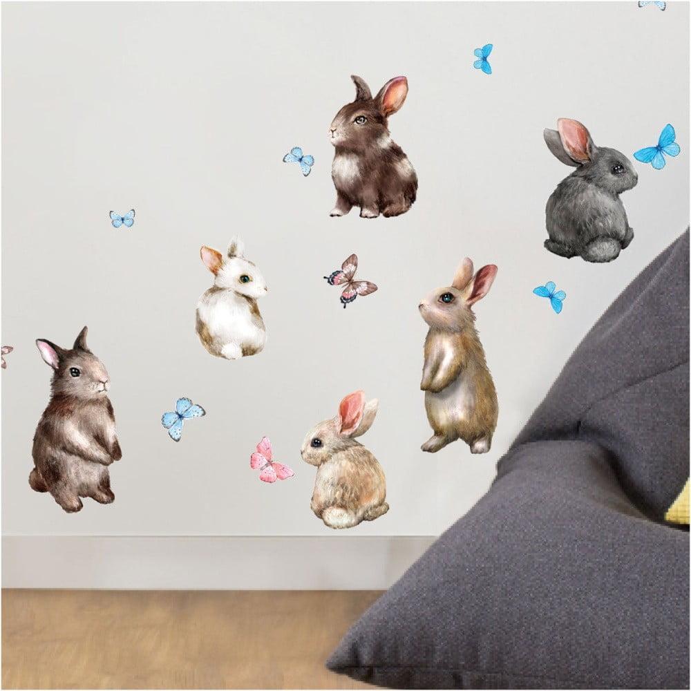 Nástenné detské samolepky Ambiance Baby Rabbits
