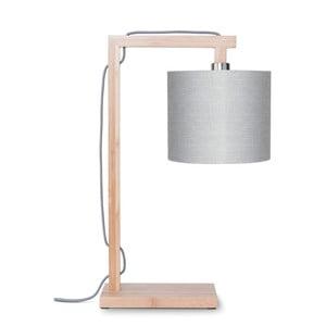 Stolová lampa so svetlosivým tienidlom a konštrukciou z bambusu Good&Mojo Himalaya