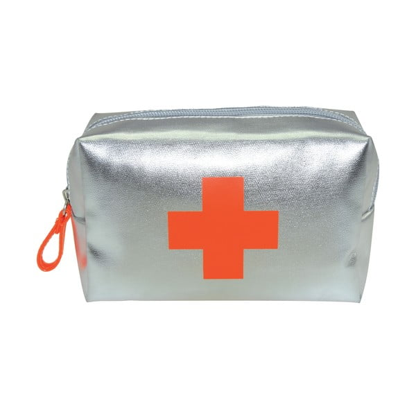 Sivá toaletná taška Incidence Vitamines, 16 x 10 cm