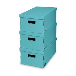Sada 3 tyrkysových úložných boxov Domopak