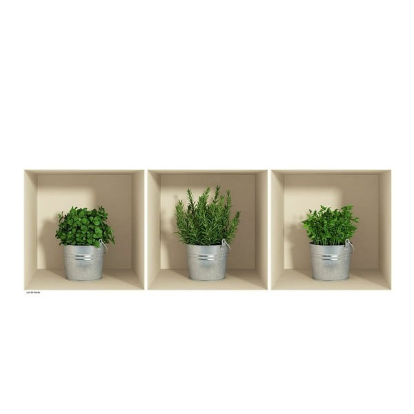 Sada 3 samolepiek s 3D efektom Ambiance Herbs in Pot