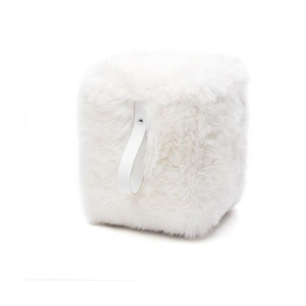 Biely hranatý puf z ovčej vlny Royal Dream