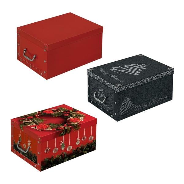 Sada 3 úložných boxov Christmas, 48x35 cm