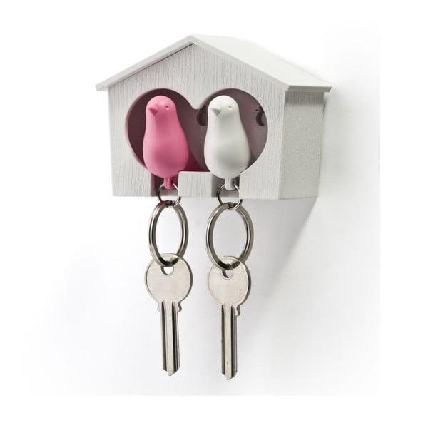 Biely vešiačik na kľúče s bielou a ružovou kľúčenkou Qualy Duo Sparrow