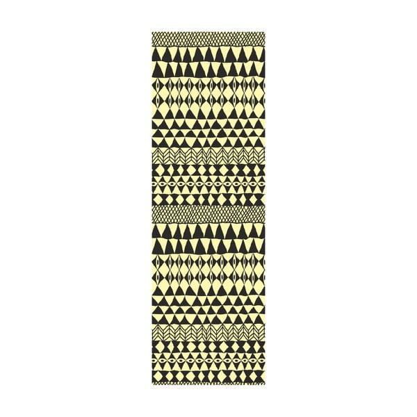 Koberec z vinylu Etnico Crema Negro, 80x250 cm