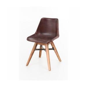 Jedálenská stolička z akáciového dreva a kože WOOX LIVING Finn