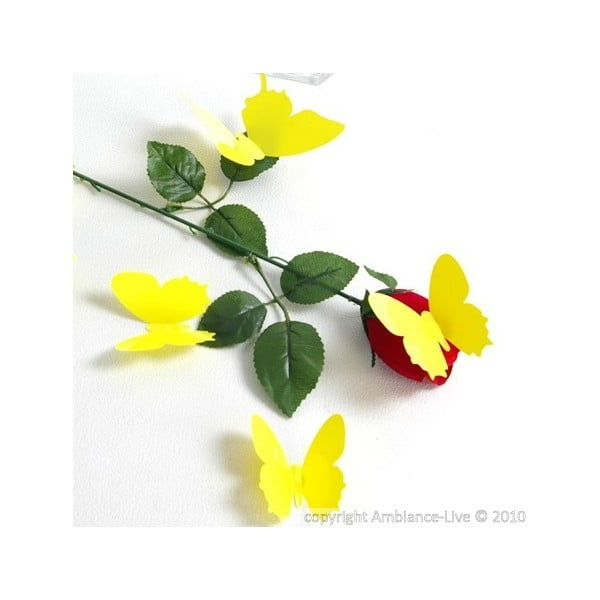 Sada 12 žltých samolepiek s 3D efektom Ambiance Butterflies