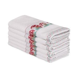 Sada 6 béžových bavlnených uterákov Beyaz Muhna, 30×50 cm