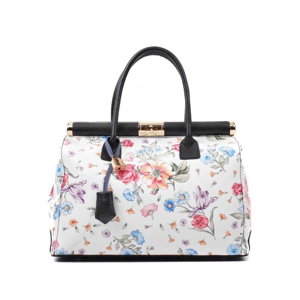 Bielo-ružová kožená kabelka s kvetinovým motívom Renata Corsi