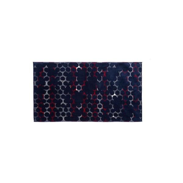 Tmavomodrá bavlnená osuška Casa Di Bassi Hexa, 100x180 cm